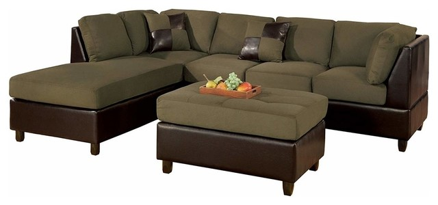 3-Piece Sectional Sofa Set, Microfiber Faux Leather With Chaise and Ottoman