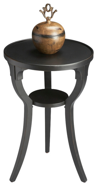 Round Accent Table, Black Licorice.