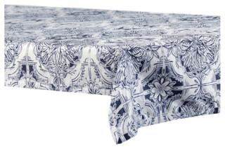 Delft Designer FauxSilk Taffeta Table Cloth, Blue   Contemporary    Tablecloths   By Half Price Drapes