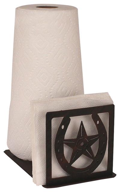 Coast lamp mfg iron horseshoe star short paper towel for Southwestern towel bars