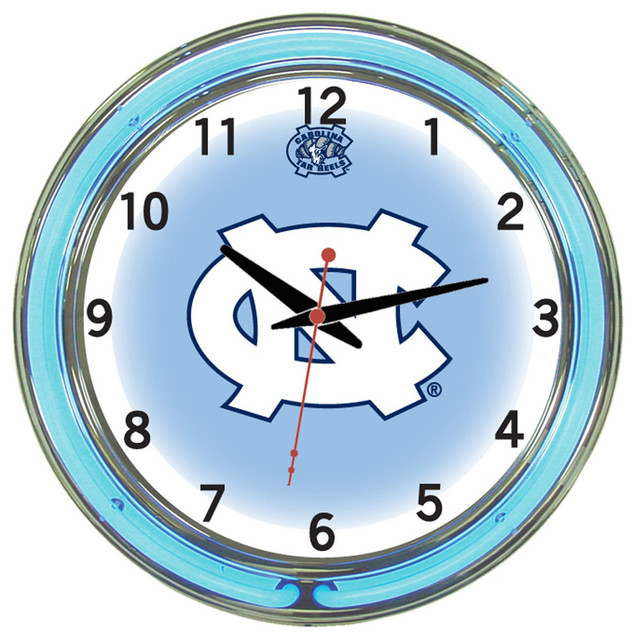 Wall Clocks With Neon Lights : UNC Tar Heels 18