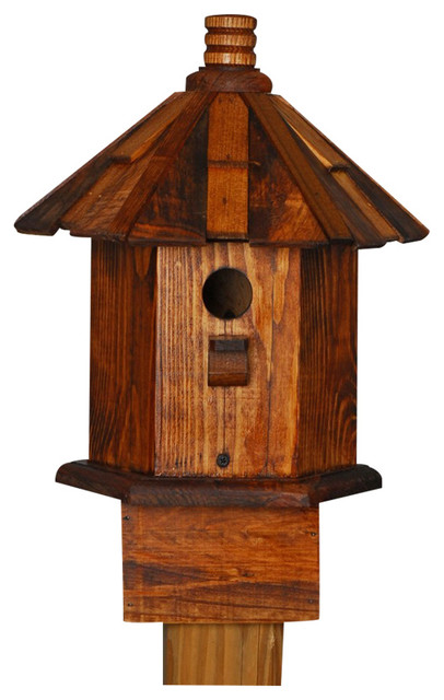 Handcrafted Birdhouse Shake Roof Stain Chickadee Cottage Home and Garden