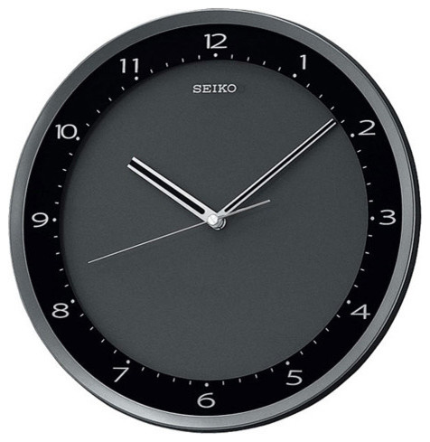 Seiko Black Metallic Wall Clock With Quiet Sweep Second