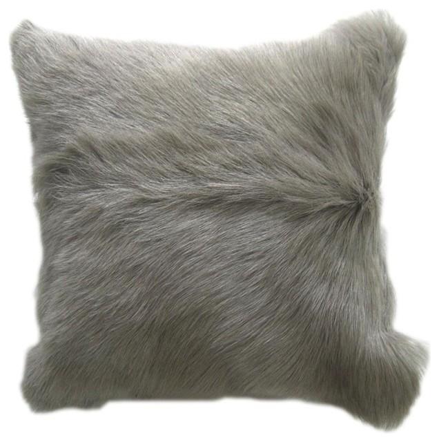 Goat Fur Pillow Light Gray