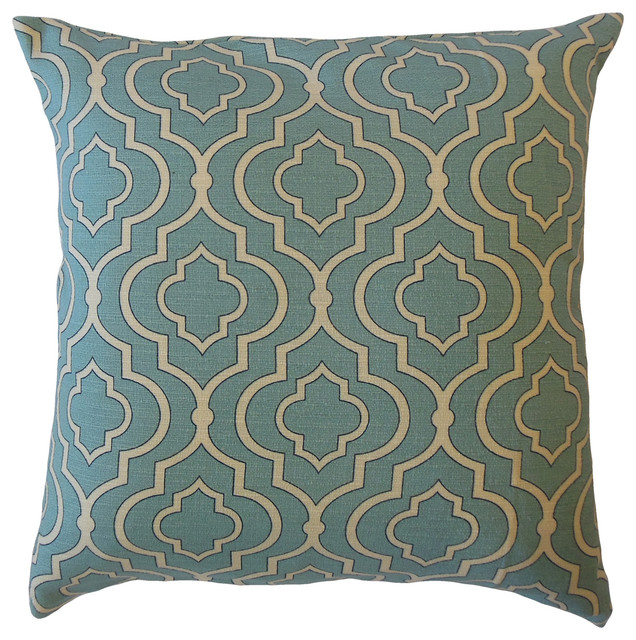 Valmai Geometric Throw Pillow Blue Mediterranean Decorative Pillows By The Pillow Collection