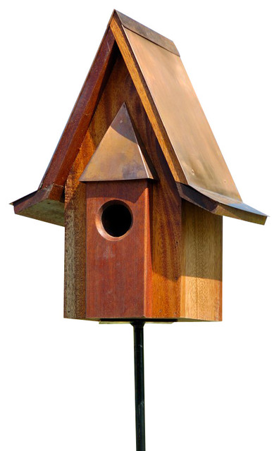 Mahogany Chateau Birdhouse Copper Roof Rustic Birdhouses
