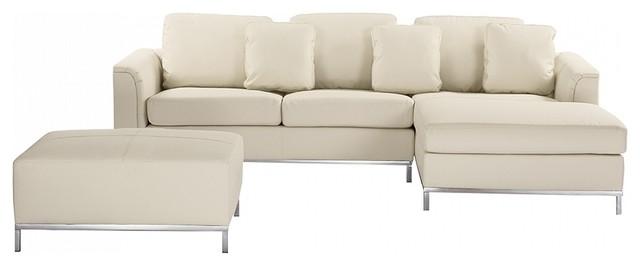 Oslo Modern Modular Sofa in Leather With Ottoman, Beige