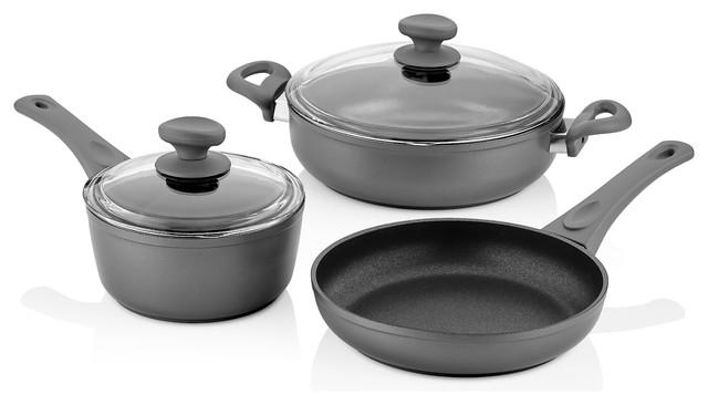 Saflon Titanium Nonstick 5-Piece Cookware Set, 4mm Forged Aluminum,  PFOA-Free