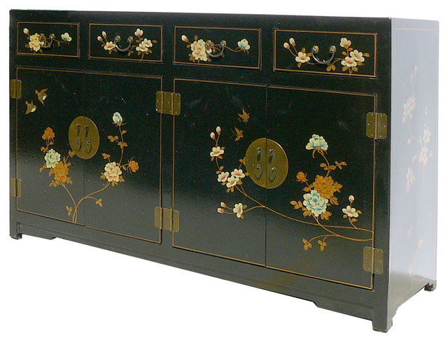 Black Chinese Leather Flower Bird Painting Buffet Console Table Shoes Cabinet