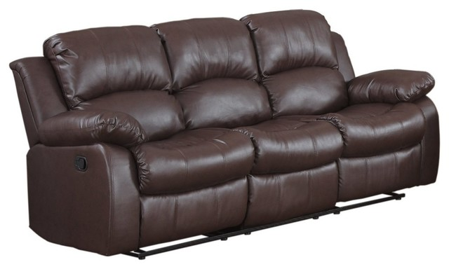 Leather Double Recliner Sofa Seats and Backs Upholstered With High-Density  Foam