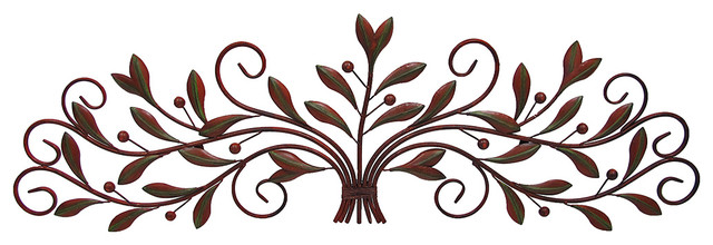 Scrolling Metal Olive Branch Over the Door Wall Decor 48