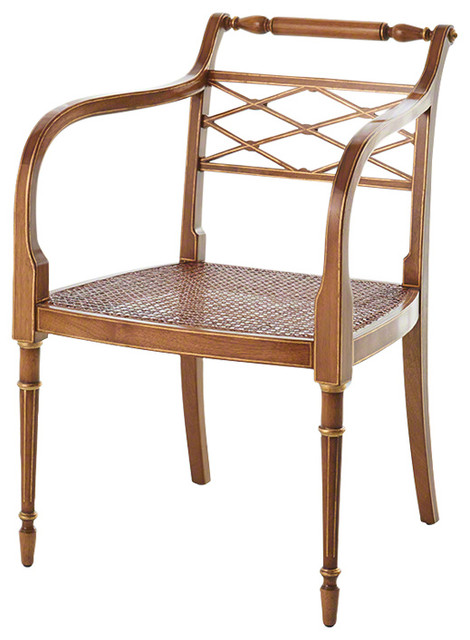 Vintage Style Wood Cane Seat Arm Chair, Regency Open Back ...