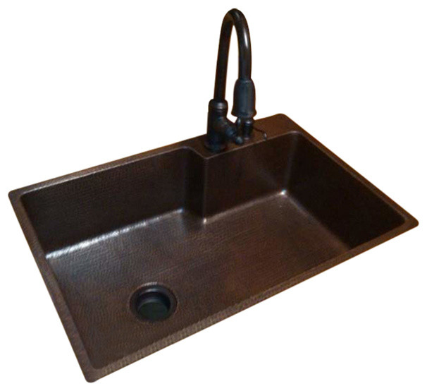 33 Copper Single Sink With Space For Faucet Rustic Kitchen Sinks