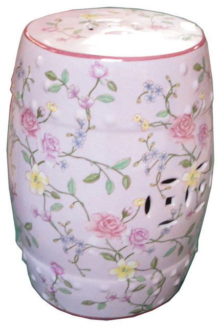 Pink Rose Porcelain Round Stool Ottoman contemporary-accent-and-garden- stools  sc 1 st  Houzz & Pink Rose Porcelain Round Stool Ottoman islam-shia.org