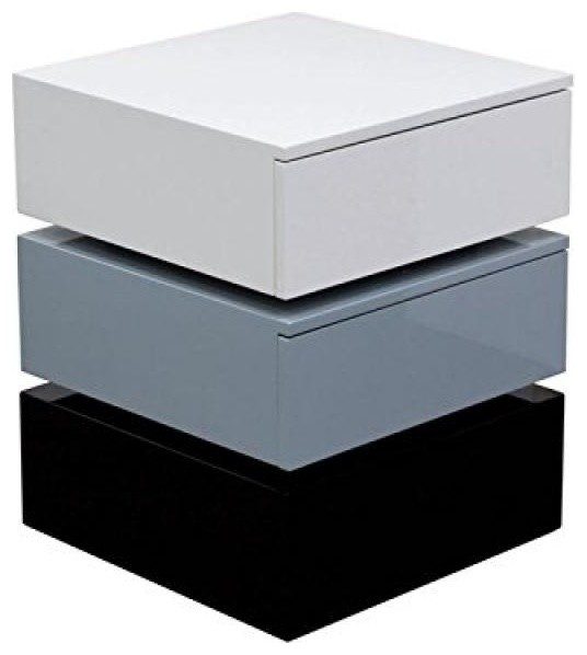 Tri color accent table with 2 drawer storage by diamond sofa black white gray modern side - Contemporary side tables with storage ...