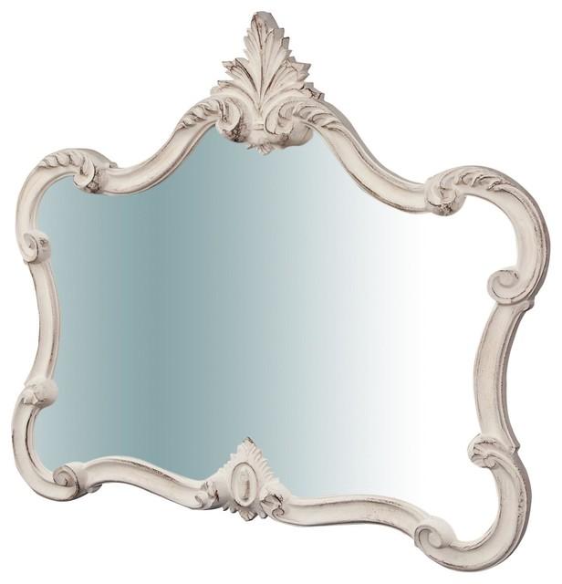 Italian Wooden Wall Mirror, White, 71x82 cm