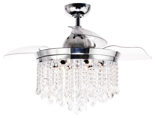46 Abella Modern Crystal Retractable Ceiling Fan With Lights And Remote Control Contemporary Ceiling Fans By Whoselamp