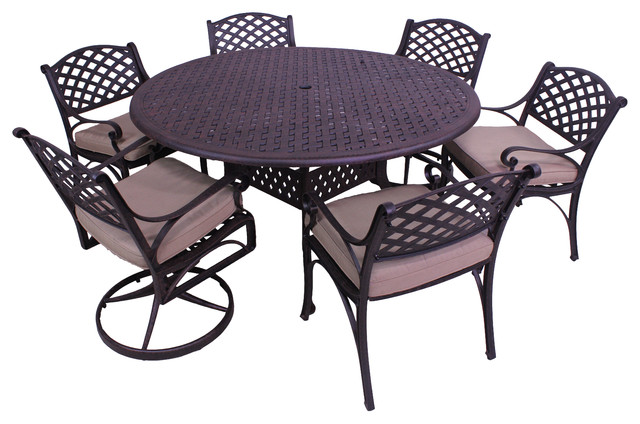 Patio Retreat Kokomo Piece Dining Set With Round Table And - 7 piece outdoor dining set round table