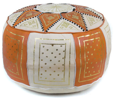 Golden Fez Stuffed Pouf, Orange, Round Shape