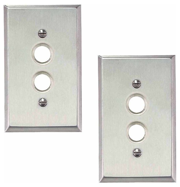2 Switchplate Brushed Stainless Steel 1 Pushbutton Contemporary