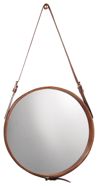 Cowhide Hanging Wall Mirror, Brown Leather