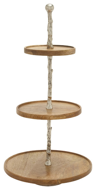 Astounding Wood Metal 3 Tier Tray 14 W