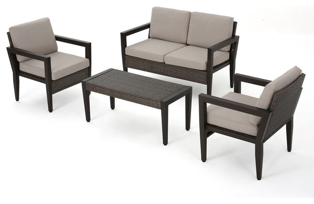 Bali Outdoor Wicker And Aluminum Sofa 4 Piece Set With Cushions.