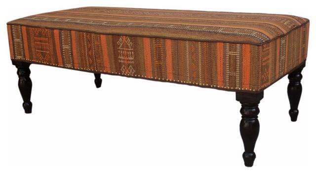 "Dorinda Green/gold Handmade Kilim Upholstered Settee, 48""x24""x19""."
