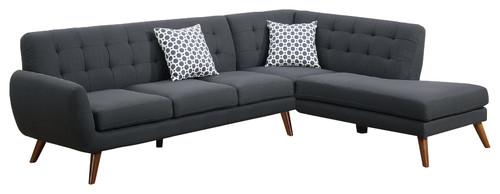 Modern Retro Sectional Sofa, Ash Black
