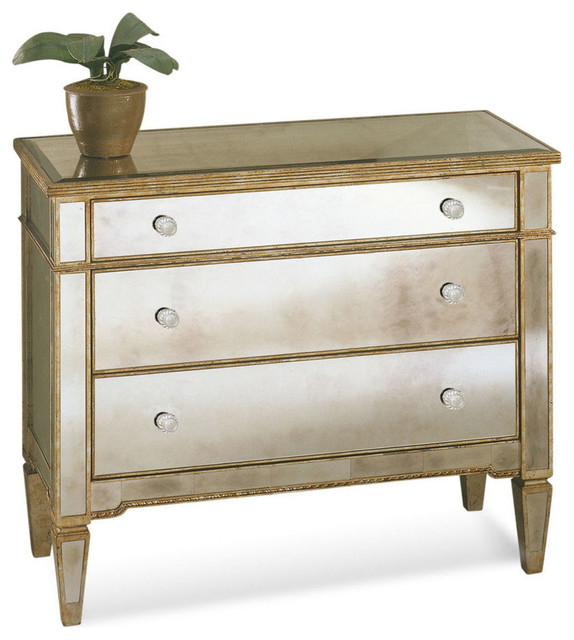 Bassett Mirror Borghese Mirrored Hall Chest Contemporary Dressers
