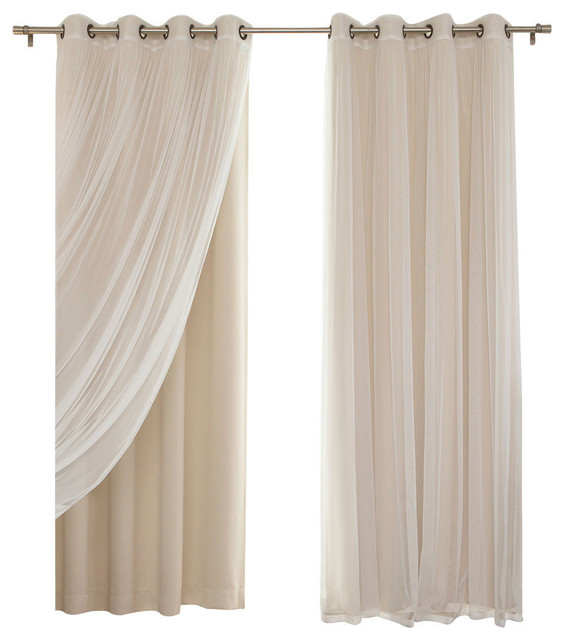Florence 4 Piece Gathered Tulle Sheer And Blackout Drape Set Beige Short