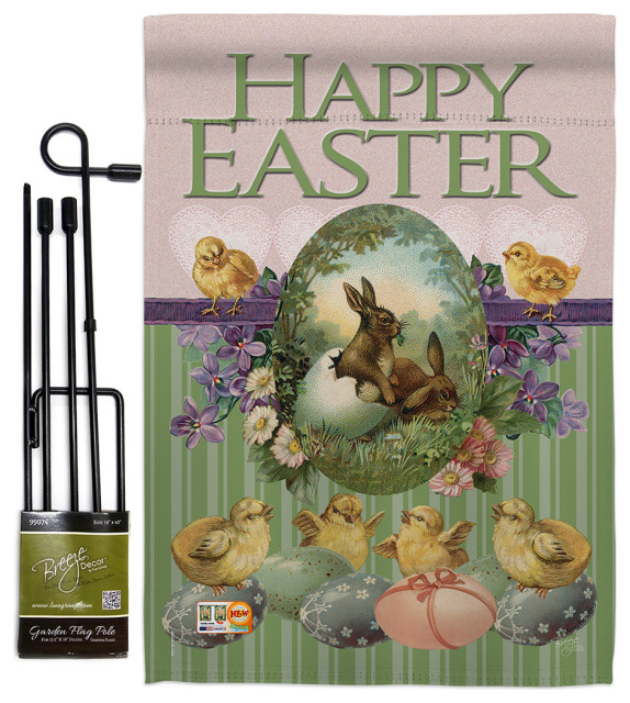 Bunny With Chicks Spring Easter Garden Flag Set Modern Flags