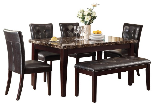 6 Piece Tango Dining Set Faux Marble Top Table 4 Chair Bench Dark Brown