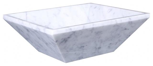 Bianco Carrara Marble Rectangular Vessel Sink