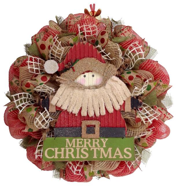 Country Rustic Santa Merry Christmas Deco Mesh Wreath.
