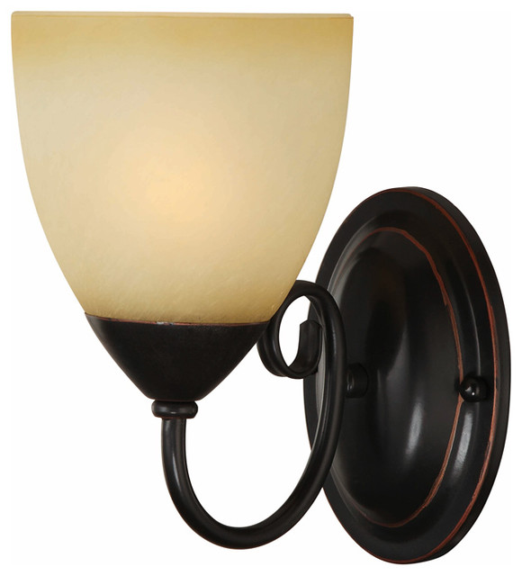 Oil Rubbed Bronze 1 Light Wall Sconce Bathroom Fixture Traditional Wall Sconces By Door