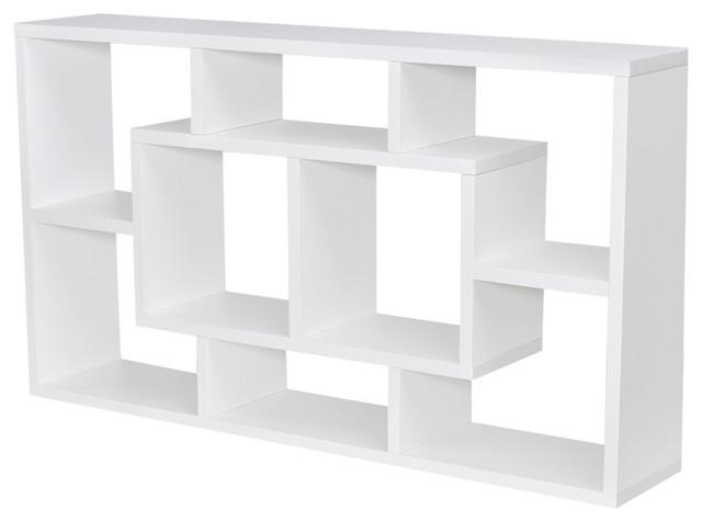 VidaXL Floating Wall Display Shelf 8 Compartments, White