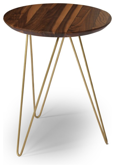 Solo Accent Table   Walnut Top/Gold Base Contemporary Side Tables And