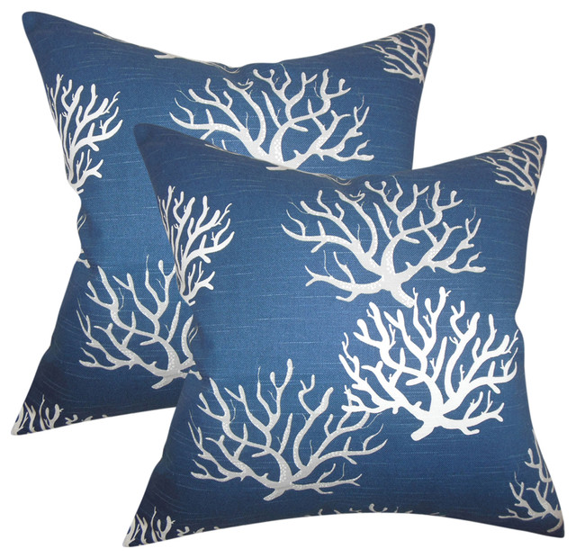 Hafwen Coastal Throw Pillows, Navy Blue, Set Of 2, Navy Blue.