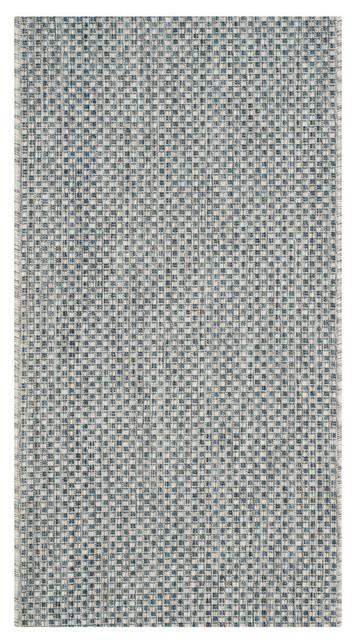 Como Indoor/outdoor Rug, Gray/navy, 2&x27;x3&x27;7.