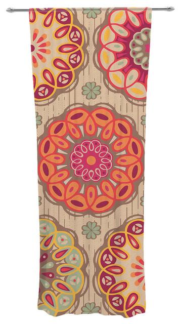 "Suzie Tremel ""festival Folklore"" Vintage Floral Decorative Sheer Curtain."