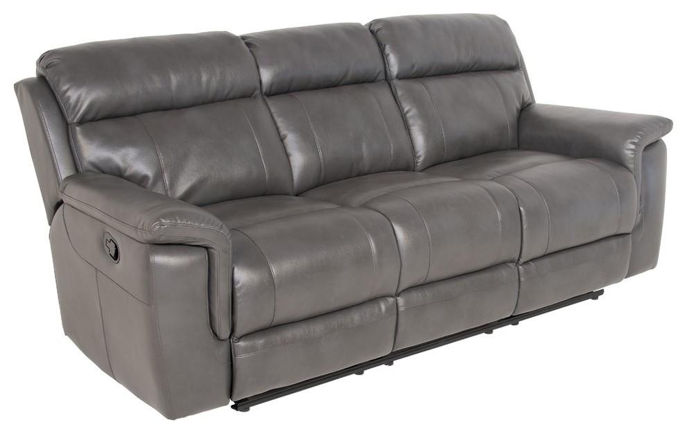 Steve Silver Dakota Faux Leather Reclining Sofa in Gray