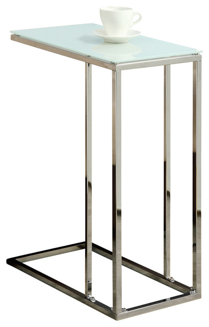 Monarch Specialties Accent Table, Chrome Metal With Tempered Glass, I3000