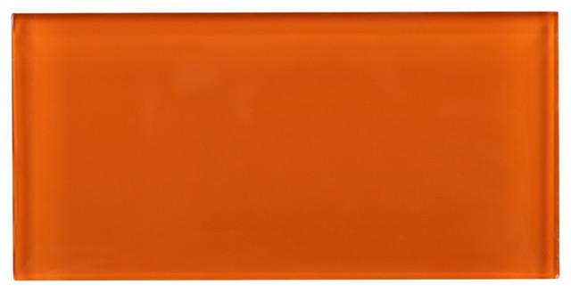 "3""x6"" Fire Orange Glass Subway Tile, Set Of 8."