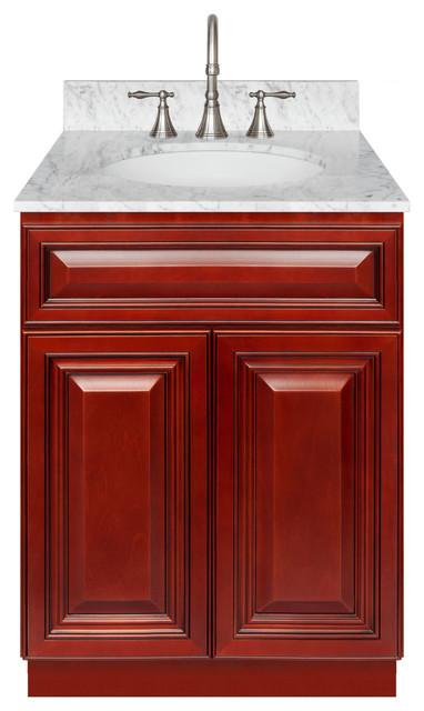 Cherry Bathroom Vanity 24 Cara White Marble Top Faucet LB7B