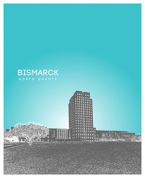 Bismarck North Dakota Skyline Art Poster Contemporary Prints And Posters By You Yoursprints Houzz