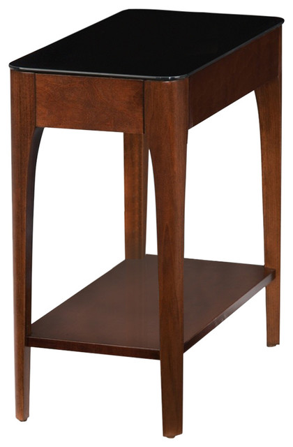 Leick Obsidian Gl Top Narrow End Table In Chestnut