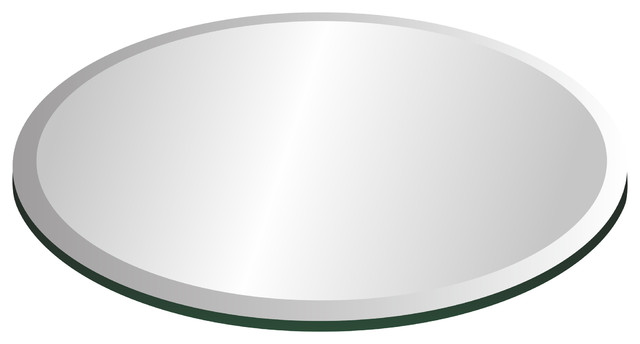 40 Tempered Round Glass Table Top, 1/2 Thickness, 1 Bevel.