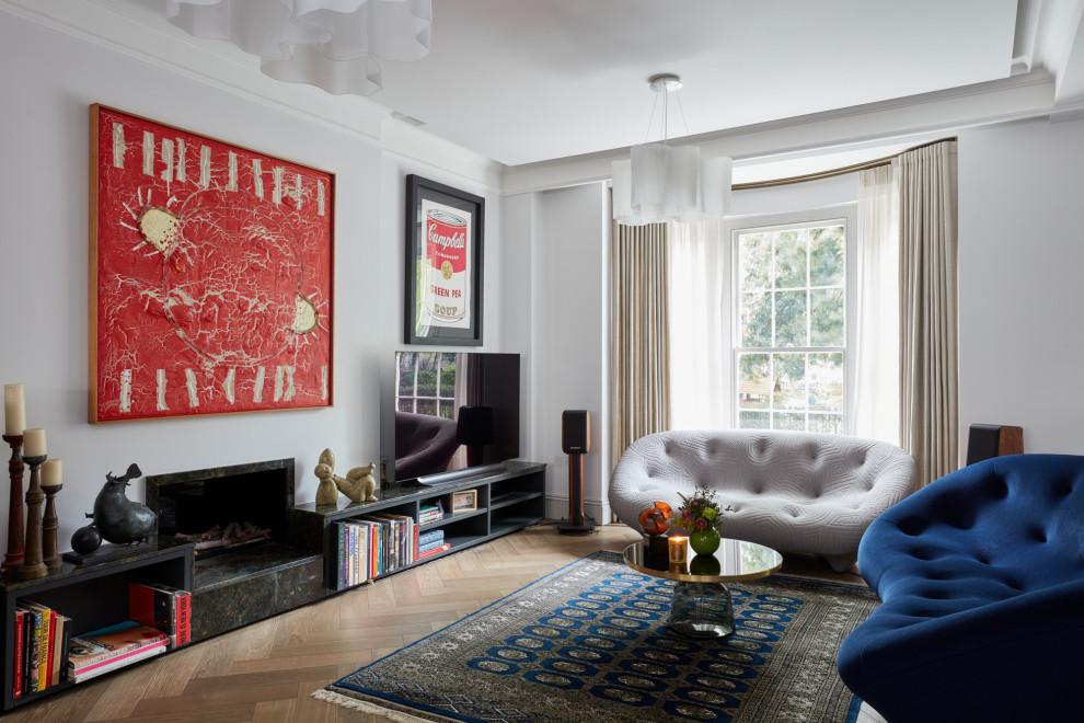 Medium sized contemporary open plan living room in London.
