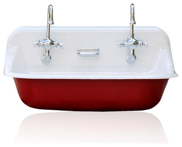 "High-Back Kohler Trough Farm Sink, 36"" - Farmhouse - Kitchen Sinks ..."